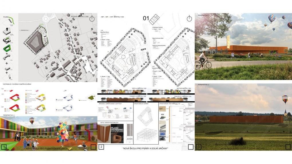 """1 Urbanismus, vztah k obci: - schematická hmota bez vztahu k měřítku obce, + nízká proporce. Architektura: příliš schematické řešení fasád """"bez oken"""". Architektura je přiměřená spíše prostředí jižnějších zemí."""