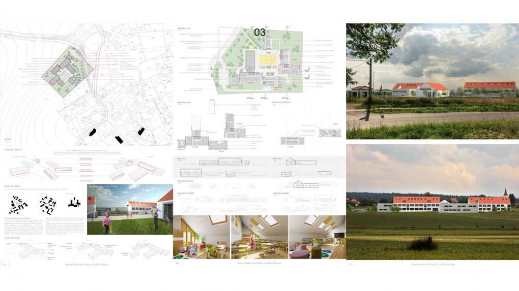 """3 Urbanismus, vztah k obci: - formální příliš rigidní ortogonální skladba hmot. """"Typologická"""" pravoúhlá skladba půdorysů působí v prostředí rostlé obce nepřirozeně.  Architektura: + sympaticky jednoduchý architektonický výraz, přiměřený veřejné investici, - osciluje na hranici banality."""