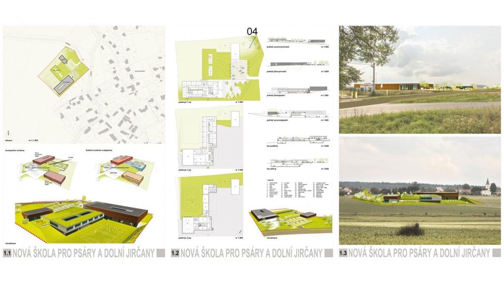 """4 Urbanismus, vztah k obci: -""""zakopaný"""" špatně čitelný soubor ortogonálních plochých hmot bez vztahu k prostředí a geniu loci obce.  Architektura: - formální kompozice hranolů, zůstává duchem v 90. letech 20. století."""