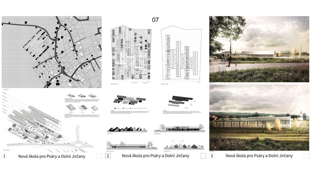 7 Jeden z návrhů, který se s velkým objemem resp. obsáhlým stavebním programem vypořádal rozčleněním objemu do plošné struktury sobě podobných, vzájemně propojených archetypů venkovských domů či stodol. Porota vnímá kultivovanost návrhu, jemnost detailu. Zároveň však konstatuje, že členění do fragmentů znečitelňuje výraz školy, přináší složitost stavební a především provozní. Obraz školy, jako srostlice víceméně celoprosklených hospodářských stavení je diskutabilní.