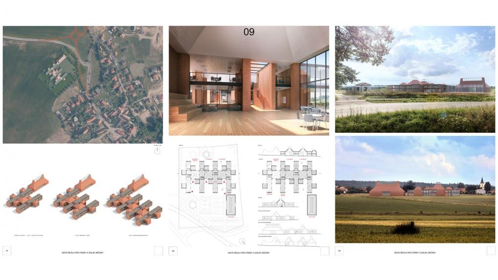 9 Urbanismus, vztah k obci: + dobře zvolené měřítko a velikosti staveb vůči kontextu obce. Architektura: - pro prostředí středočeské obce cizorodé architektonické řešení a výraz. Návrh evokuje dojem citace několika konkrétních zahraničních projektů