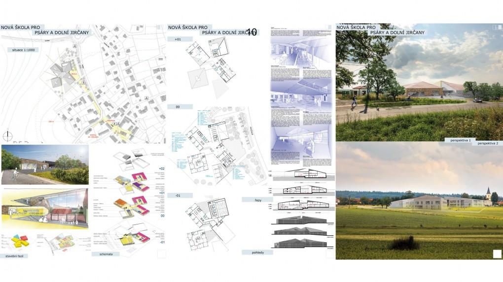 10 Jasně čitelný, přehledný koncept s dobrou urbanistickou vazbou na centrum obce. Soustředění jednotlivých pavilonů (I. a II. stupeň, tělocvičny a hlavní budova) kolem centrálního prostoru – auly vytváří příznivý, dobře využitelný shromažďovací prostor, vhodný pro pořádání různých doplňkových akcí. Rafinované průhledy z tohoto prostoru nabízejí zajímavý kontakt s okolím. Vhodně je navržen rozdílný charakter výukových prostor obou stupňů. Návrh je promyšlený, provozně dobře fungující. Objemy jednotlivých pavilonů ale vnášejí do prostředí příliš velké měřítko vzhledem k charakteru okolní zástavby.