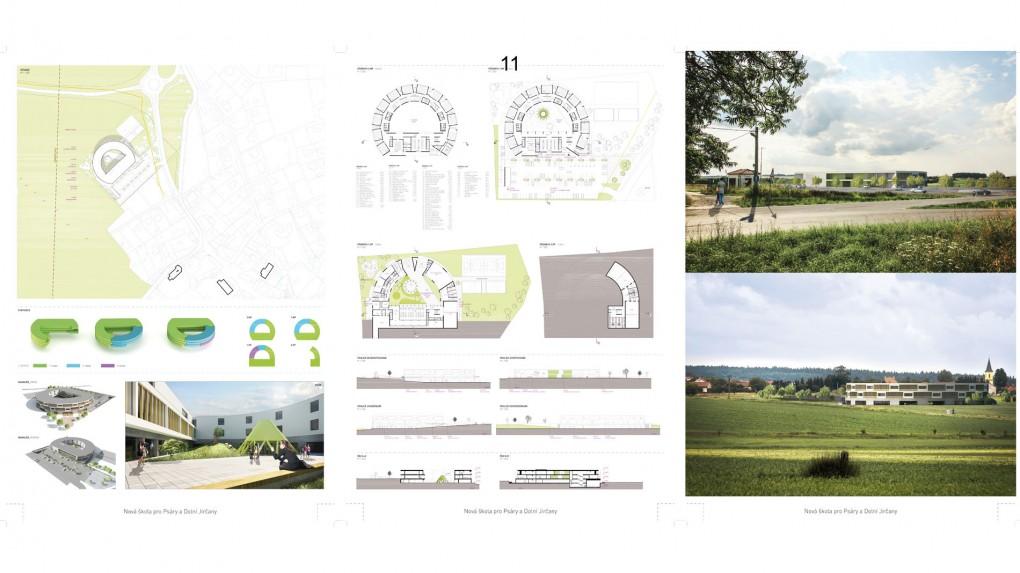 11 Urbanismus, vztah k obci: forma půlkruhu i měřítko stavby je bez vztahu ke kontextu obce Architektura: evokuje rezidenční nebo hotelový typ architektury
