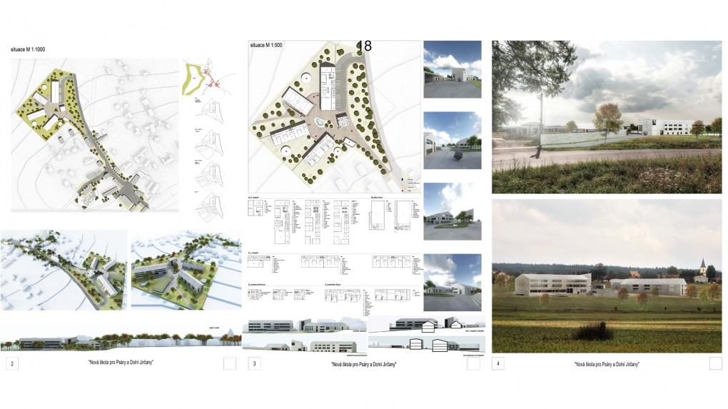 """18 Urbanismus, vztah k obci: soustava pěti nezávisle stojících pavilonů směřujících paprskovitě k jakési """"návsi"""" má ambici vytvořit v obci nový veřejný prostor, což je velmi pozitivní snaha. Tím že jsou však všechny pavilony schematizovány do stejného výrazu, působí celý soubor (byť rozdělený) příliš těžce a objemně. Architektura: autor se snaží architekturu abstrahovat od detailu do formy objemů, což v kulturním prostředí současné české obce působí spíše jako manýra."""