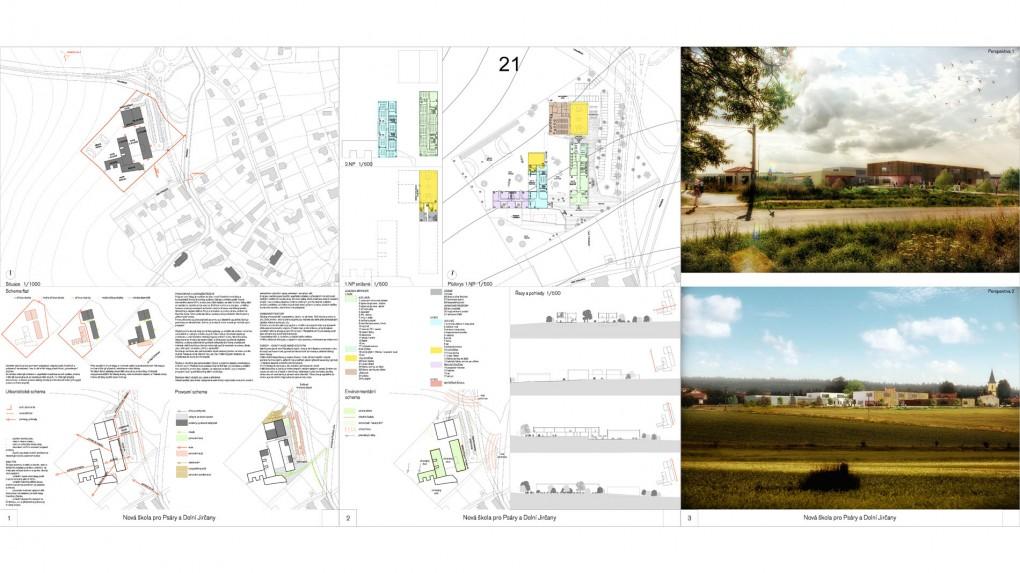 """21 Soubor ortogonálních relativně nízkých podélných hmot """"soudobého"""" výrazu bez logické výrazové vazby ke kontextu obce. Architektonický je to formální kompozice hranolů, evokující spíše architekturu obytného souboru než školu."""