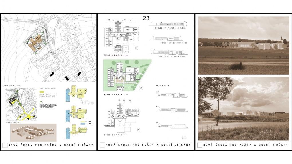 23 Urbanisticky je orientace hlavního vstupu do areálu směrem do zahrad budoucích rodinných domků nevhodná. Prostorové schéma je racionální ale mimo kontext. Školní areál městského charakteru stojící v polích na kraji obce.