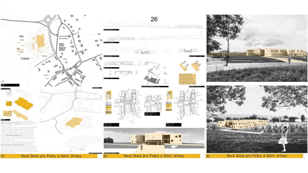 26 Celé prostorové schéma quasirostlé struktury by mohlo být jednou z odpovědí na kontext rostlé obce. Bohužel je navenek prezentována pláštěm s rozehranými okny, který celému návrhu dává jinou referenci. Charakter půdorysu se nejeví jako špatný, křivolakost chodeb by mohlo vytvořit neformální a přitom srozumitelné prostředí.