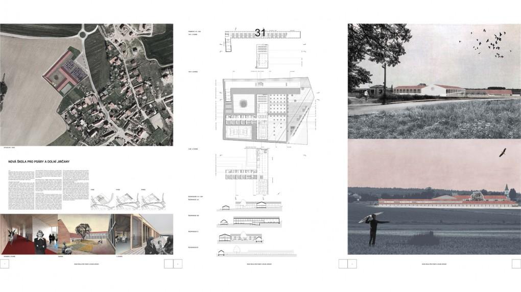 31 Jeden z nejlépe urbanisticky řešených projektů, který je úměrný měřítkem a svým výrazem. Porota oceňuje snahu o zemitost návrhu, hmatatelnost, osahatelnost a reálnost všech prostorů. Svým urbanistickým řešením se komplex školy pokouší navázat na obec jako veliký statek, který se na konec vymkl autorovi funkčními a typologickými vazbami. Bohužel návrh obsahuje řadu chyb, pro které nemohl být vybrán do druhého kola. Zejména se jedná o orientaci tříd vůči dennímu osvětlení a absence propojení prvního stupně suchou nohou do jídelny a nepřesvědčivá je i délka chodeb.