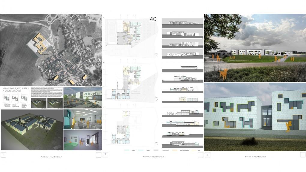 40 Vhodné umístění na pozemku i vzhledem k napojení na centrum obce. Správně oddělené vstupy jednotlivých stupňů, přiměřená velikost společných prostor. Racionálnímu a útulnému prostorovému schématu uškodilo bezdůvodné formální zpracování fasády