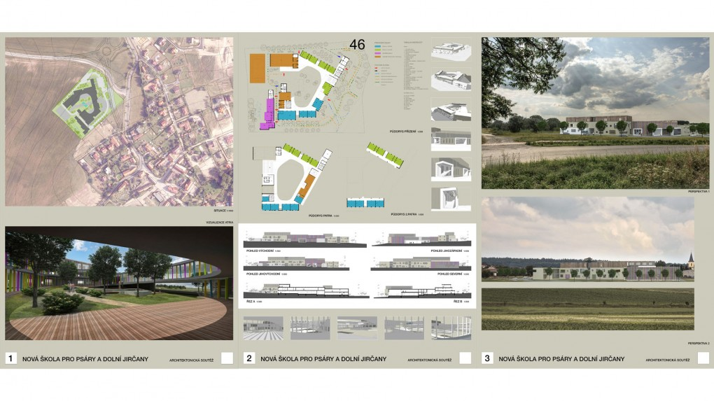 46 Formální a chaotické řešení prostorového schématu i vizuality objektu není šťastné pro budovu základní školy Zajímavý prostor atria s průhledy do okolí.