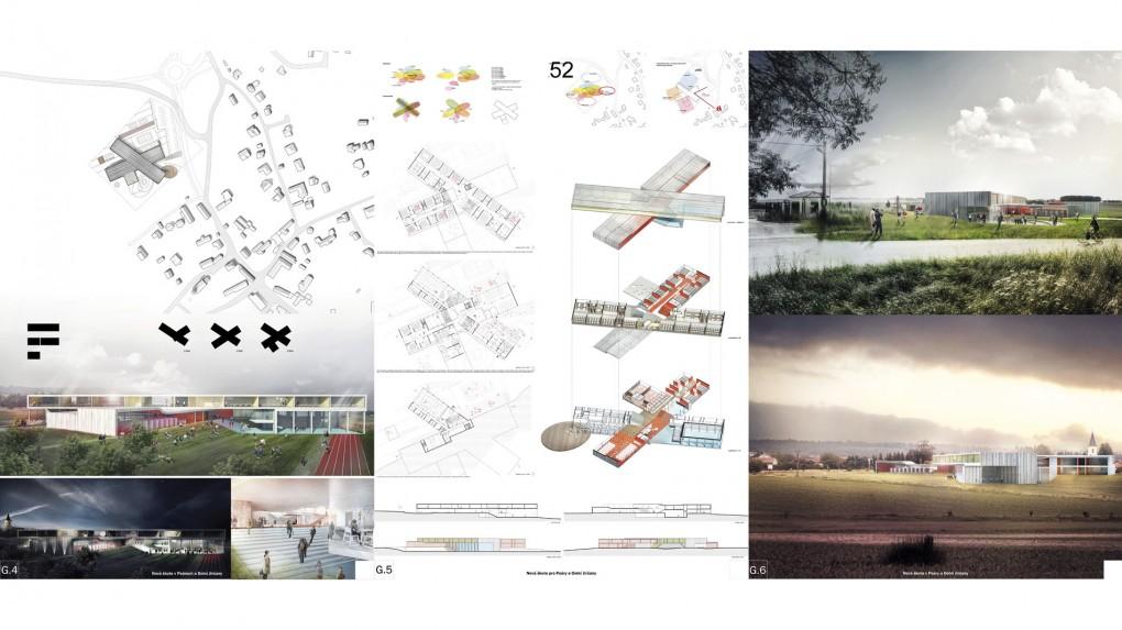 52 Velice dobře funkčně zpracovaný návrh, který je kvalitním příkladem soudobé architektury ovšem do jiného prostředí. V situaci je patrné monumentální měřítko návrhu neodpovídající malé obci a typu školství, pro který je určen. Nepřesvědčivá je i navržená etapizace.