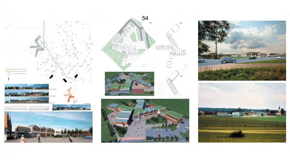 54 Urbanisticky příliš rozsáhlý návrh, který je odlišný od okolní zástavby. Návrhu dominuje roztříštěnost a celková vizualita odpovídá spíše obchodní galerii než základní škole. Problematické je orientování tříd prvního stupně.