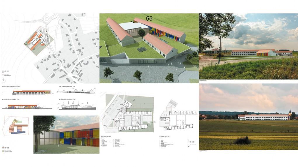 55 Místo předprostoru školy dominuje hlavním přístupovým cestám rozsáhlé parkoviště. Hlavní vstup do školy je, z pohledu obce, umístěn až za vjezd pro zásobování. Navržená etapizace se jeví jako komplikovaná až nereálná.